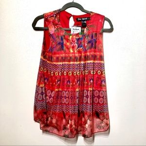 NWT Desigual Sleeveless Floral Swing Top Sz XS